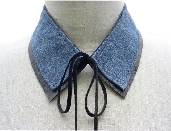 Denim-Leather-Collar-Necklace-Upcycled-Detachable-Collar-Blue-etsy.comshopManoBello.jpg 554×425 pixels