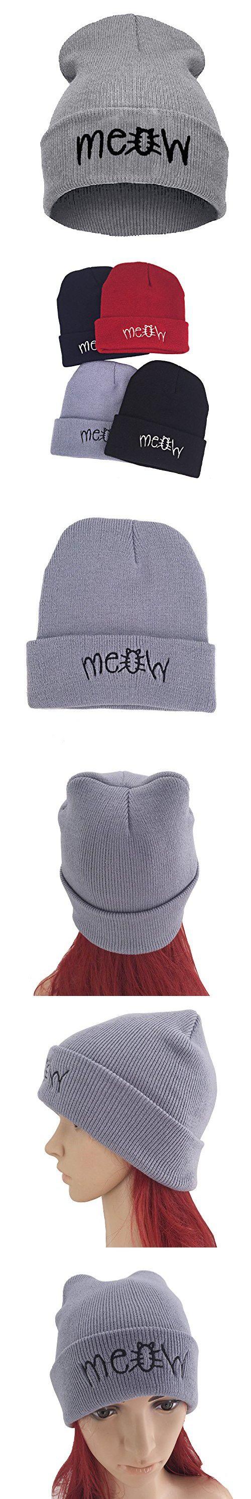 Beanie Hat for women, Winter Hip Hot Knit Cap Beanie Skull Hats for women/girls/teens - Cute Hats with letter 'Meow' - Grey Crochet Slouchy Hip-pop Hat