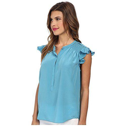 (レベッカテイラー) Rebecca Taylor レディース トップス スリーブレスシャツ Sleeveless Silk Ruffle Top Azurite 6    レディース参考サイズ USサイズ|バスト(cm)|ウエスト(cm)|ヒップ(cm) XS(4)|33.5(85)|25.5(65)|35.5(90) S(6-8)|34.5-35.5(87...