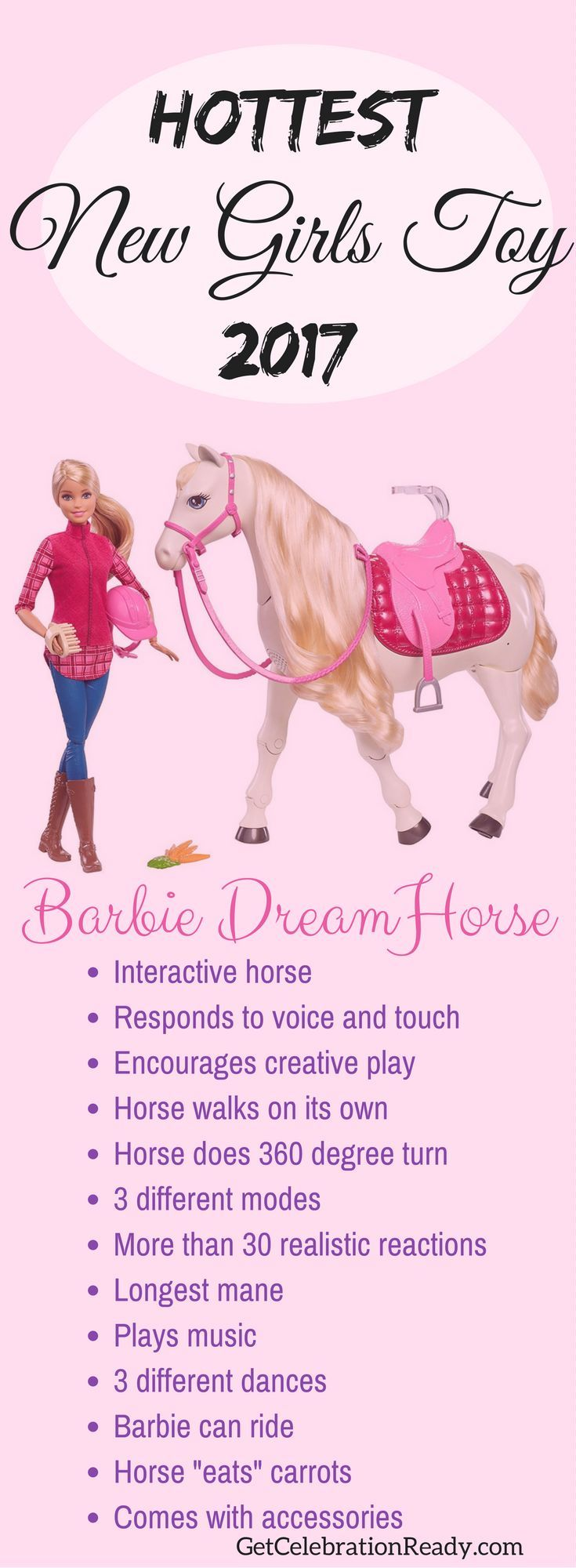 Your daughter will be delighted to receive the Barbie DreamHorse for Christmas. This is the best Barbie horse yet. It's interactive. This is the hottest new girls toy for 2017. Make this Christmas one to remember.