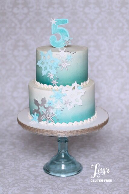 Baby Shower Zilla ~ Frozen theme blue ombré cake with snowflakes for birthday