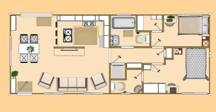 Floor plan of our 640 sq ft daybreak floor plan using 2 x for Shipping container garage floor plan