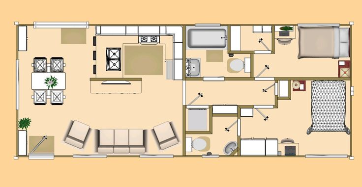 Floor plan of our 640 sq ft daybreak floor plan using 2 x for Shipping container homes floor plans