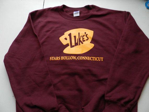 Gilmore Girls Luke's Diner Crewneck Crew Neck 50/50 Blend Sweatshirt Sweat Shirt 8 oz. Screen Print Maroon Gold T.V. Show Pop Culture