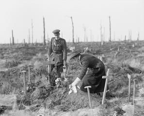 South African woman placing a wreath on her brother's grave at Deville Wood, the Somme