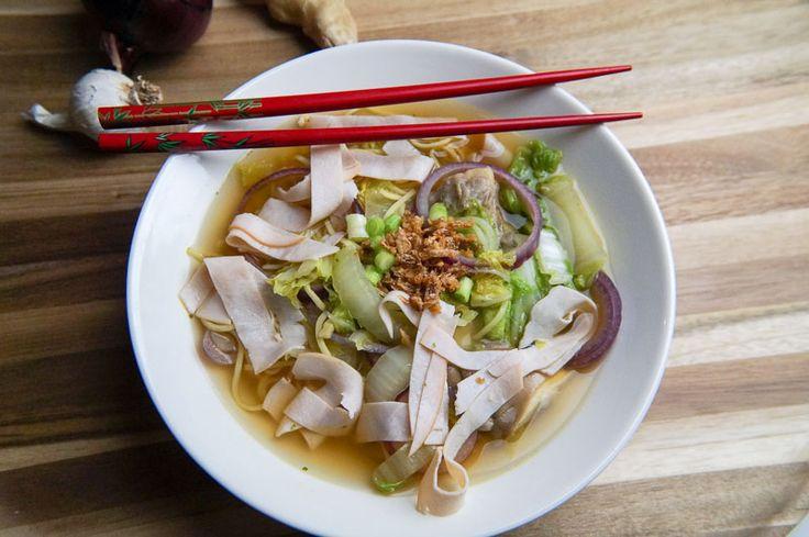 Soep met Chinese Kool, Oesterzwammen en Kip