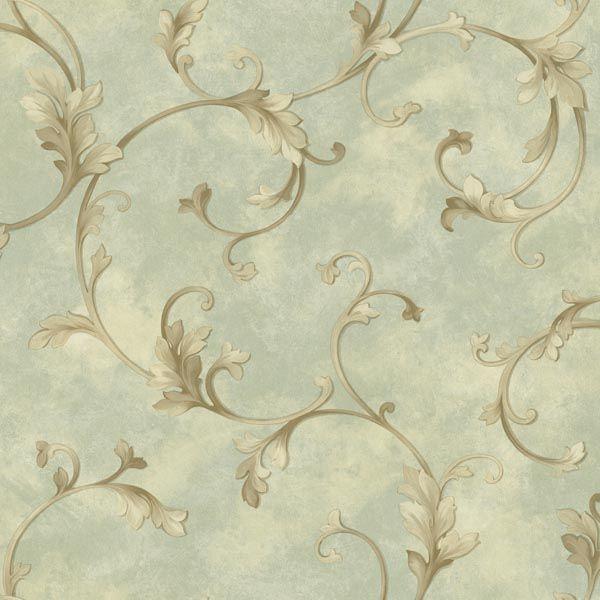 ARB67514 Green Acanthus Scroll - Voluta - Arbor Rose Wallpaper by Warner Studios