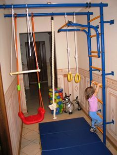 Best use of a hallway i 39 ve ever seen someday when we for Basement jungle gym