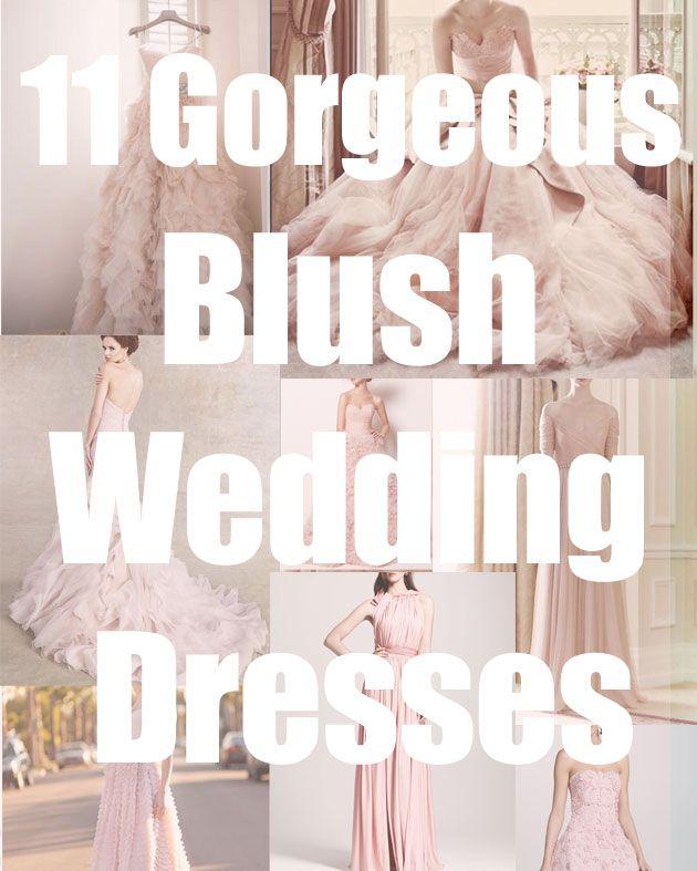 11 Blush Pink Wedding Dresses at tresvintageweddings.com
