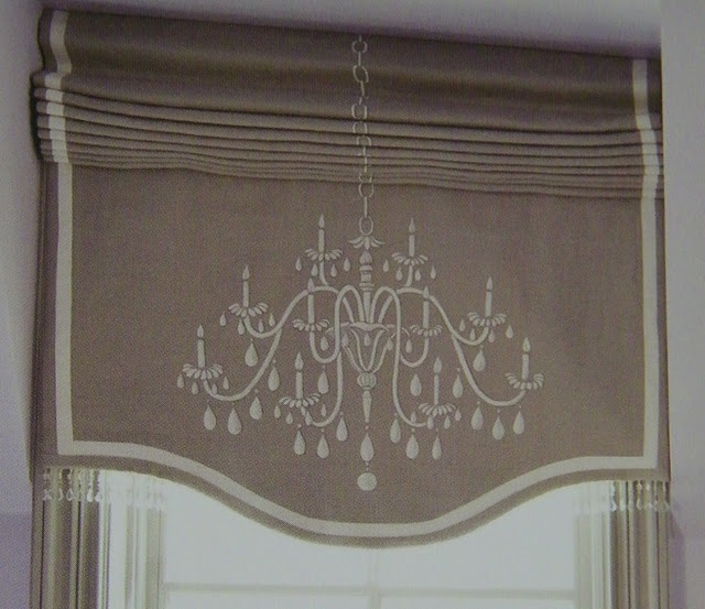 Roman shade with embroidered chandelier motif--great job lining up the chain!