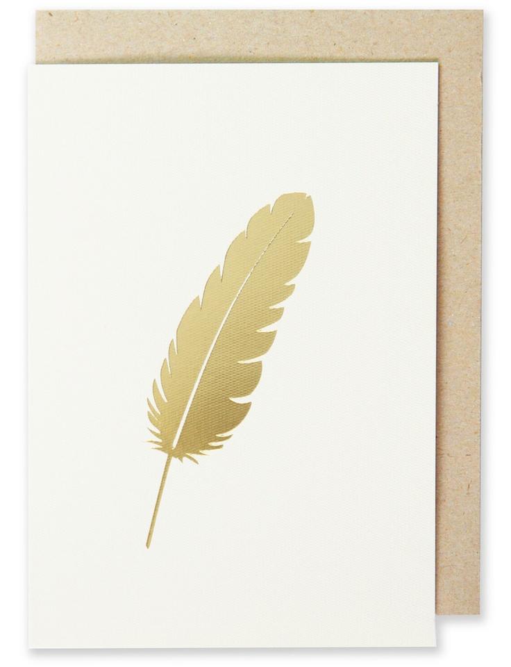 005 - Feather Greeting Card Metallic Gold Foil, Blank Interior  www.splendourvendor.com