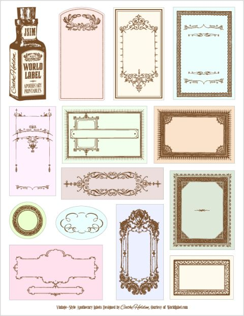 Free Apothecary Labels for your bottles designed by Cathe Holden of Just Something I Made. from WorldLabel.com #labels #apothecary #downloadable #printable #vintage #bottle #frames #craft #scrapbook #paper