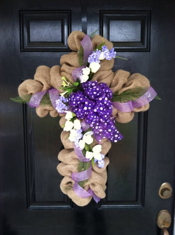 Large Elegant Burlap Cross Wreath Easter Mothers Day Spring Summer Door Wall Decor Brown White Ribbon Bow Cream Floral Arrangement
