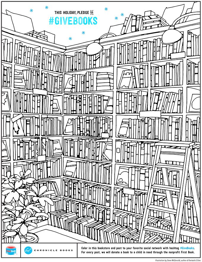 Free Downloadable Bookstore Coloring Page For Every Re Pin This Gets We