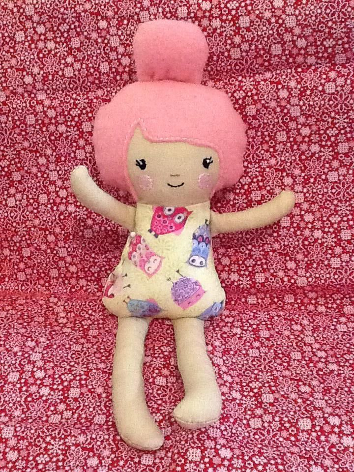 Latest dolly, not finished yet, still to sew up.  Dolls and Daydreams ITH Pattern.