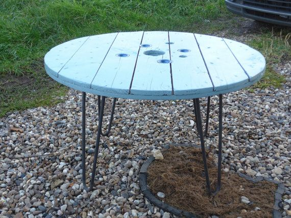 Wooden Cable Drum Coffee Table on Hairpin Legs by RevampedUp