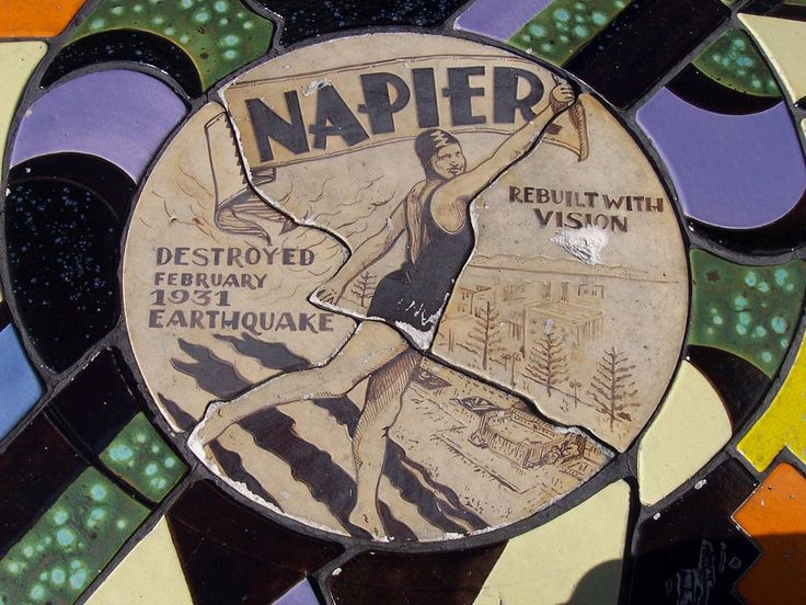 Napier, ceramic medallion recalling 1931 earthquake