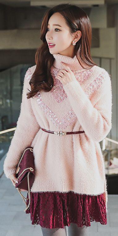 StyleOnme_ Side Slit High Low Hem Sequined Turtleneck Knit Sweater #pastel #babypink #pink #turtleneck #feminine #girly #koreanfashion #seoul #kstyle #fallfashion #sequin #dailylook