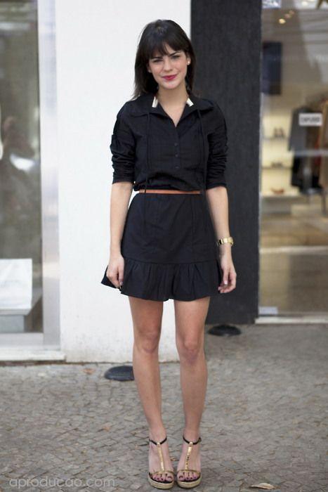 Nath working: Rio de janeiro.  Outfit: pretinho sempre básico…  Look: vestido, cinto e sandália Animale.