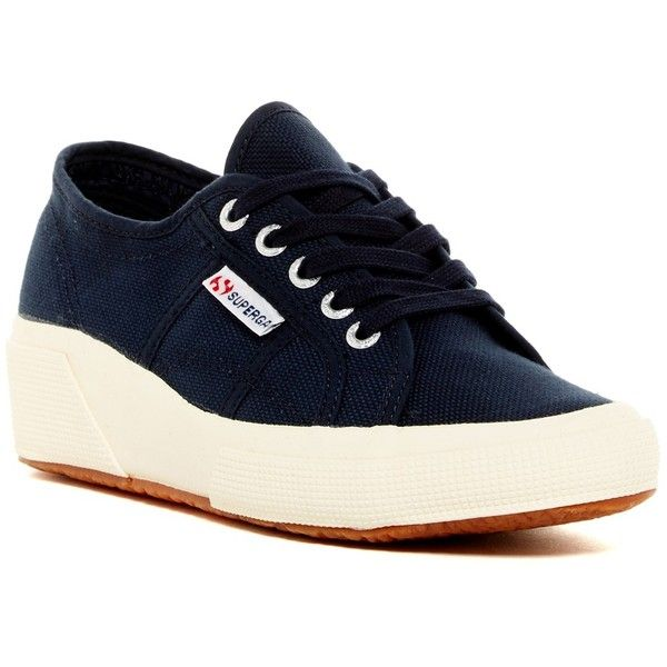Superga COTW Wedge Sneaker (£38) ❤ liked on Polyvore featuring shoes, sneakers, navy, lace up sneakers, navy shoes, platform sneakers, platform wedge shoes and wedge sneakers