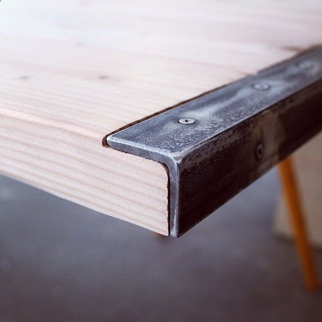 Wood   Iron = conference room table for Yoshirt I used my Ryobi Power Tools 18volt angle grinder to cut the angle irons and grind the screws flush to the metal. #homemademodern #startups #letsdothis