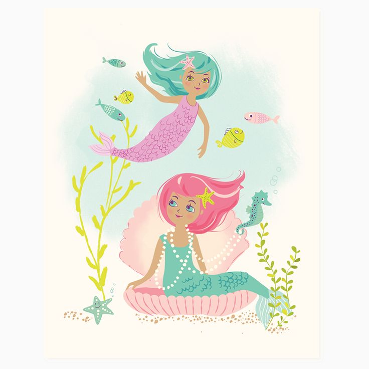 Little mermaids under the sea - the stuff of dreams for little girls everywhere! This print matches nicely with another mystical creatures print in our shop (princess & unicorn!) - heavyweight paper -