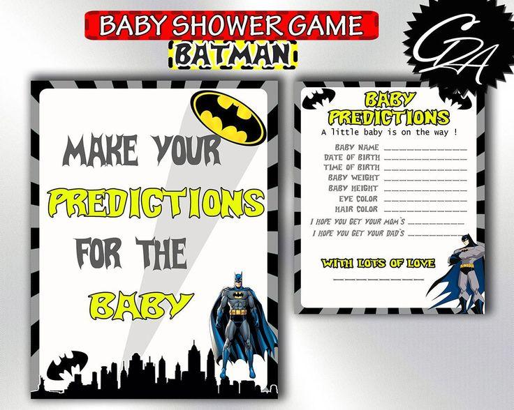 Baby Shower Batman Prediction Cards, Printable Baby Shower Predictions For  Baby, Batman Baby Shower