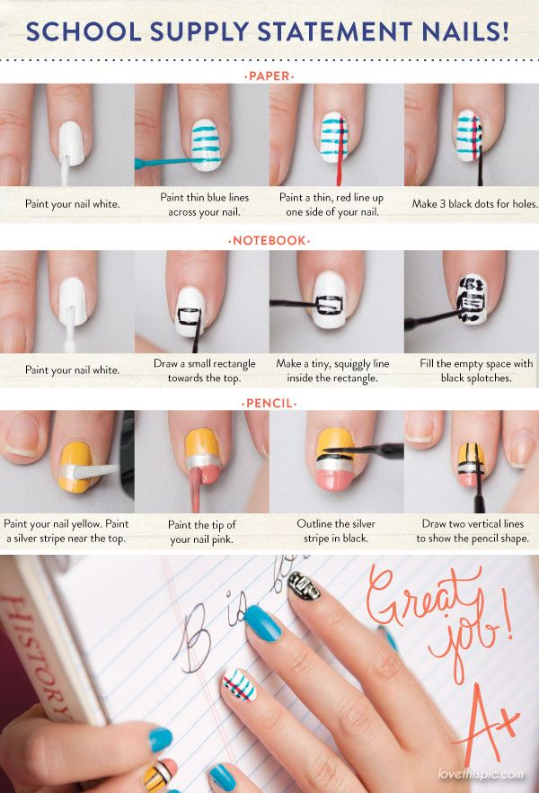 DIY School Supply Statement Nails Pictures, Photos, and Images for Facebook, Tumblr, Pinterest, and Twitter