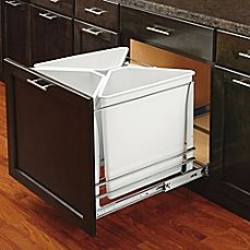 image of Rev-A-Shelf Recycling Center Metal 5.3 Gallon Bins with Soft-Close Slides in White (Set of 3)