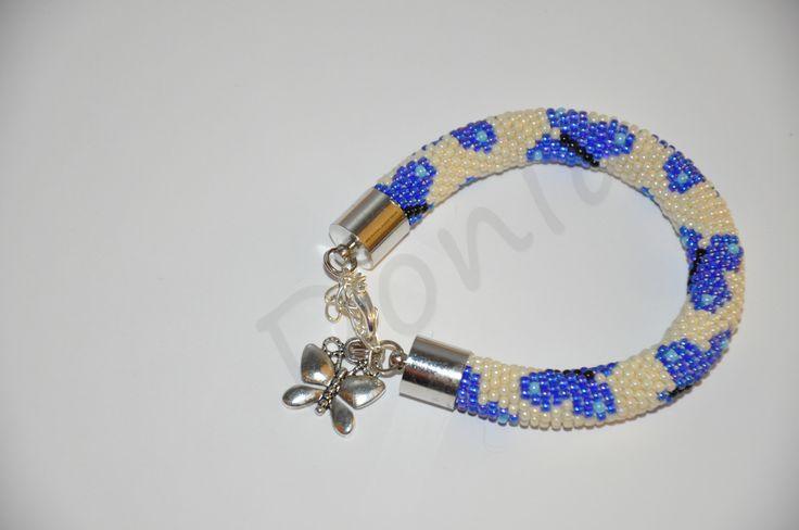 Bead Crochet Bracelet - blue butterfly
