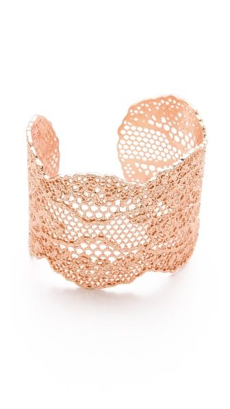 Aurelie Bidermann Laser Cut Vintage Lace Cuff - Rose Gold Plate