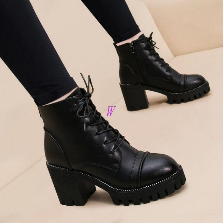 Damen Plateau Schnürung Round Toe Zipper High Tops Block Heels Stiefeletten Schuhe