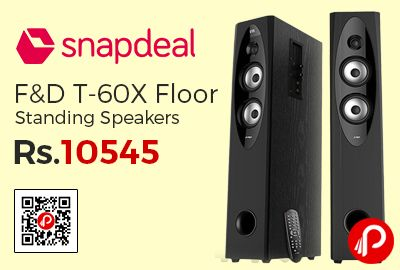 Snapdeal is offering 30% off on F&D T 60X Floorstanding Speakers at Rs.10545 Only. Total RMS Power (Watts):110, Bluetooth, FM Tuner, Memory Card Slot, 1 Year Warranty.  http://www.paisebachaoindia.com/fd-t-60x-floor-standing-speakers-at-rs-10545-only-snapdeal/