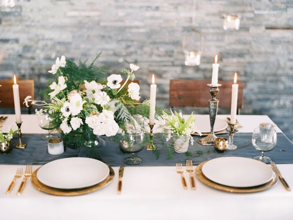 Grey table runner, white cloth, gold cutlery & brass candlesticks (use deep berry flowers instead though)