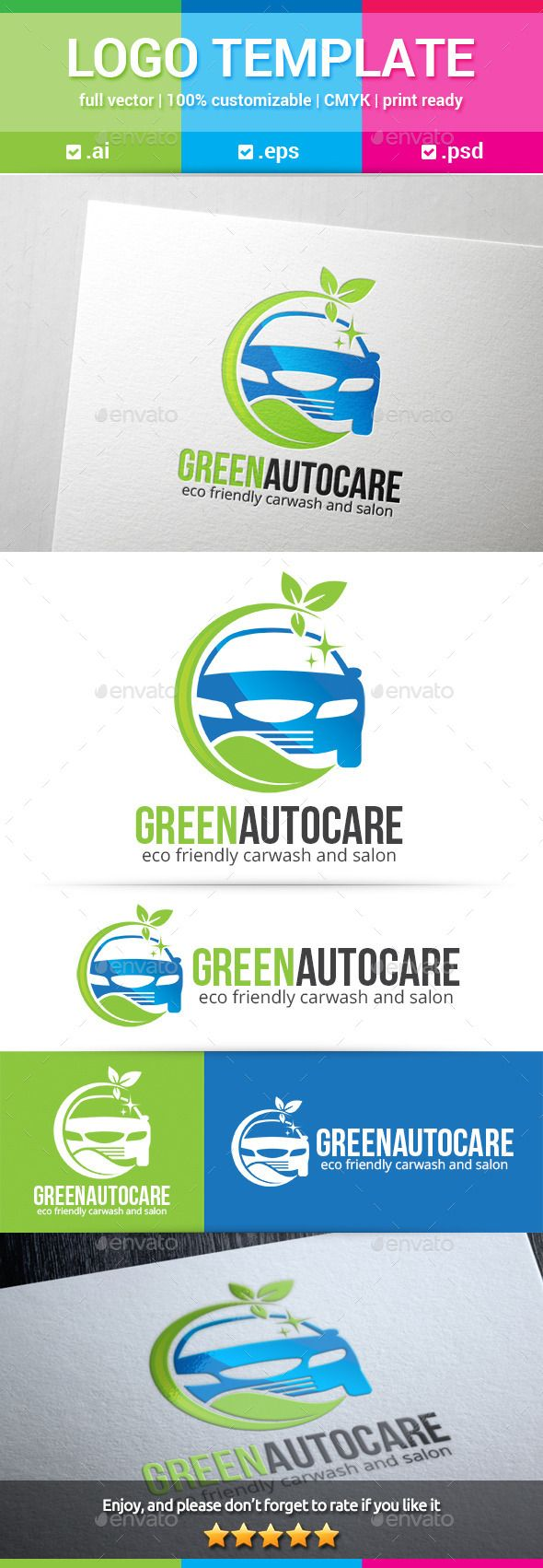 Buy green auto care logo by on graphicriver green auto care logo is a car with green leaves around it suited for eco friendly car wash or car cleaning