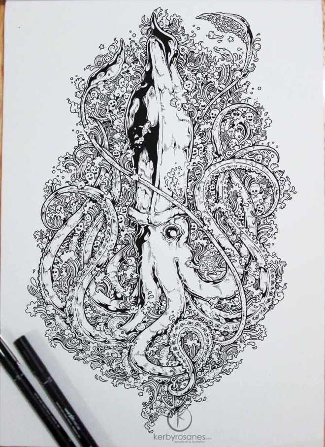 Octopus Mural Kerby Rosanes Doodle Coloring Pages