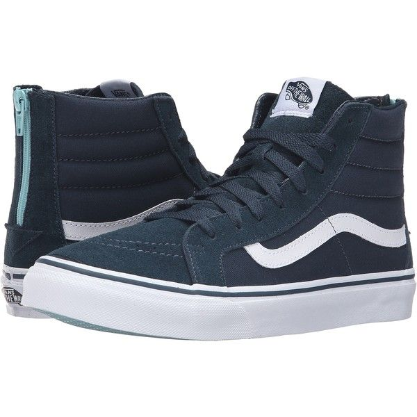 Vans SK8-Hi Slim Zip ((Pop) Midnight Navy) Skate Shoes ($45) ❤ liked on Polyvore featuring shoes, sneakers, navy, skate shoes, high top skate shoes, vans sneakers, grip trainer and navy blue sneakers