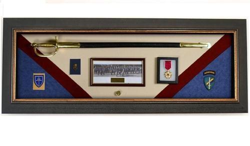 Military Display Case Wall Mounted Shadow Box Wood Display