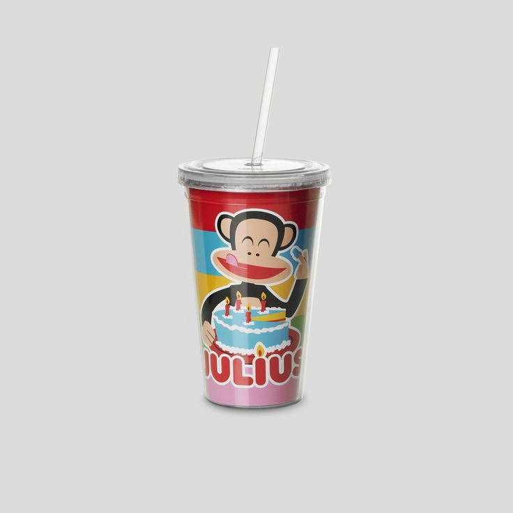 Cup with straw. Paul Frank Collection. Design by Room Copenhagen