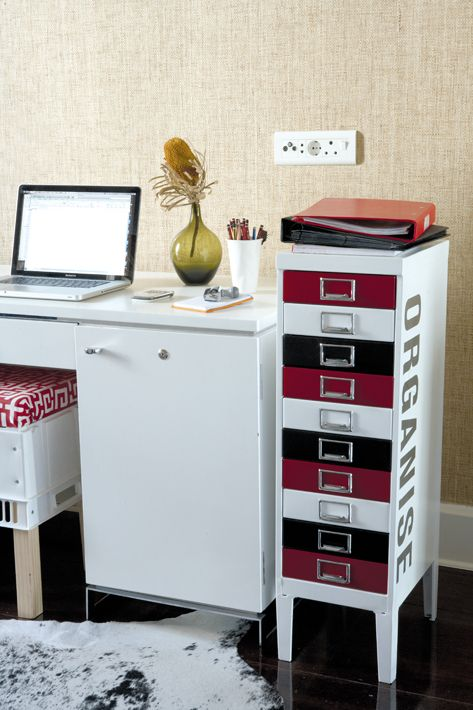 Red, white and black filing drawers, nice! via Pinterest