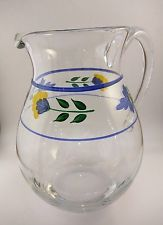 Dansk Glass Pitcher - St. Tropez Line - Clear with Painted Flowers