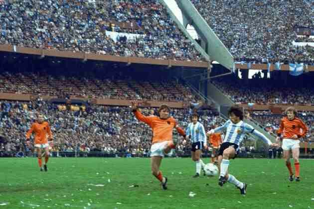 Argentina 3 Holland 1 in 1978 in Buenos Aires. A shot by Daniel Passarella goes wide in the World Cup Final.