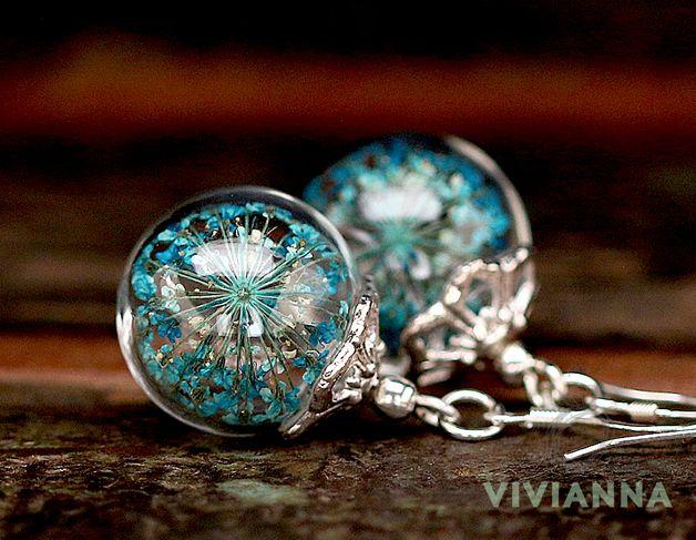 Ohrringe mit echten Dillblüten / earrings with real blossoms by Viviannaschmuck via DaWanda.com