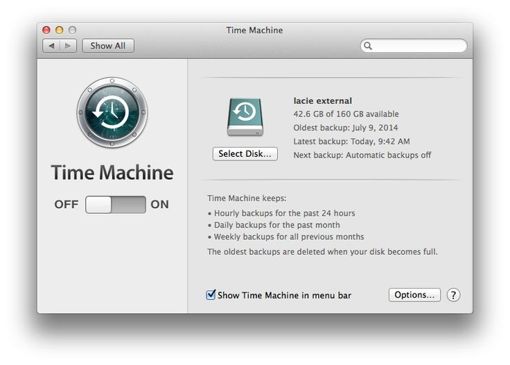Even if you have Time Machine switched off, you can use it to back up using the menu-bar icon. Click the icon, then click Back Up Now to perform a manual backup. However, it's best to enable Time Machine's automatic backups. To set this up, go to Time Machine > System Preferences and switch Time Machine's status to On. It will now automatically maintain backups of your content every hour for one day, every day for a month, and weekly beyond that.