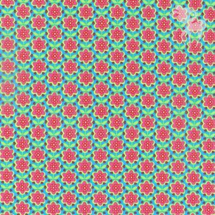 Bloomy tricot turquoise/fuschia