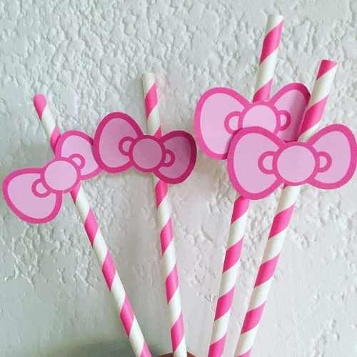Sorbetes De Papel Rosa Y Blanco De Hello Kitty Moño - $ 70,00 en Mercado Libre