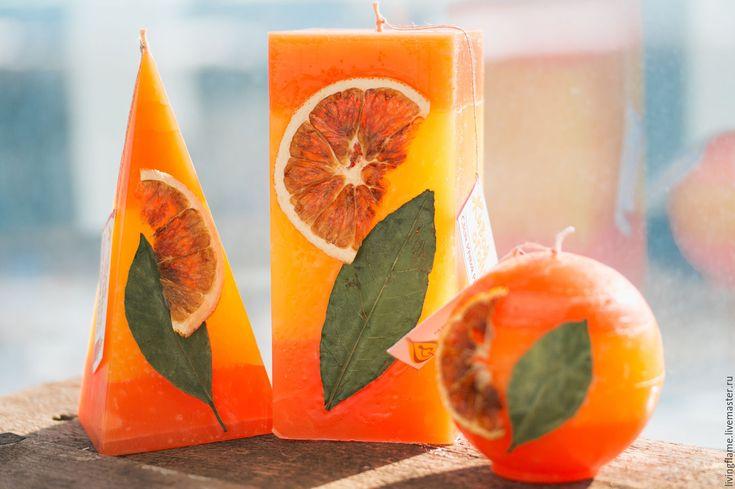"""Купить Набор свечей """"Сочный апельсин"""" - оранжевый, свечи ручной работы, Свечи, свечи декорированные"""