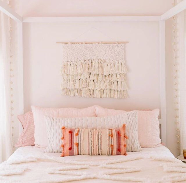 Boho White And Pink Bedroom Minimalistic Pink And Peach And White