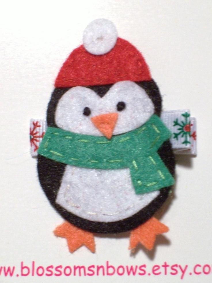 Felt penguin ornament.