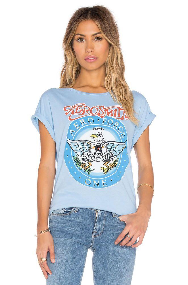 914eeec8d JUNK FOOD S/S Aerosmith Band Eagle Graphic Print Tee Shirt Top Blue M $40 # JunkFood #Tee #Casual